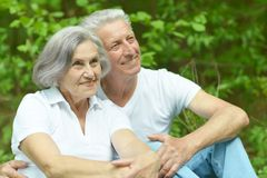 Senior couple sit Royalty Free Stock Photography