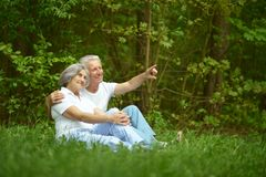 Senior couple sit Royalty Free Stock Image