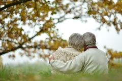Senior couple sitting in autumn park Stock Photos