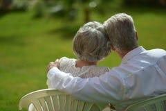 Senior couple sitting Stock Photos