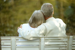 Senior couple sitting on bench Royalty Free Stock Photo