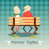 Senior Couple Sitting On Bench Forever Together Grandparents Day Greeting Card Stock Photo