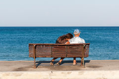 Senior couple sitting on the bench Royalty Free Stock Image