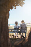 Senior couple sitting on bench near the sea Stock Photography