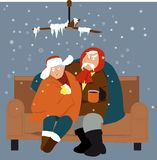 Freezing home. Senior couple sitting on a couch in a cold house in winter, EPS 8 vector illustration Stock Image