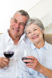 Senior couple sitting on couch having of red wine Royalty Free Stock Images