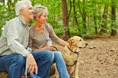 Senior couple sitting with dog in forest. Relaxed senior couple sitting with dog in a forest during a hiking trip Royalty Free Stock Photo