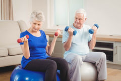 Senior couple sitting on fitness balls with dumbbells Stock Photography