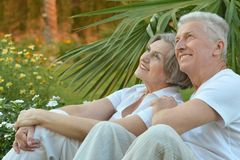 Senior couple sitting on grass Stock Images