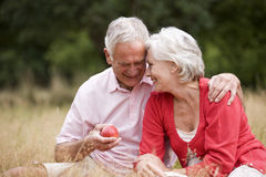 A senior couple sitting on the grass, man holding an apple Royalty Free Stock Photos