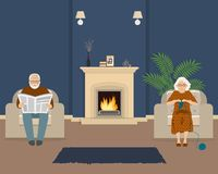 Senior couple is sitting in the living room near the fireplace. Old lady knits socks, and elderly man is reading the newspaper. Vector illustration Royalty Free Stock Photography