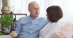 Senior couple sitting on sofa and having a discussion. Happy senior couple sitting on sofa and having a discussion in living room stock video
