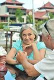 Senior couple sitting on  table on the pier. Happy cute senior couple sitting on the table on the pier Stock Image
