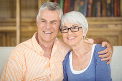 Senior couple sitting together on sofa in living room Stock Photography
