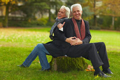 Senior couple sitting on tree trunk Stock Photography
