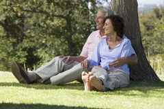 A senior couple sitting under a tree Royalty Free Stock Photos