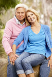 Senior Couple Sitting On Wall Stock Images