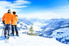 Senior Couple Skiing Royalty Free Stock Photo