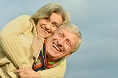 Senior couple at sky Royalty Free Stock Images