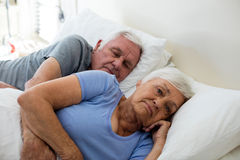 Senior couple sleeping in the bedroom Royalty Free Stock Photos