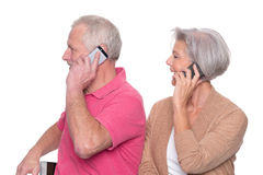 Senior couple with smartphone Stock Photo