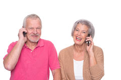Senior couple with smartphone Stock Photography