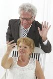 Senior couple with smartphone Royalty Free Stock Images