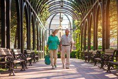 Senior couple smiling and walking. Elderly people hold hands. Time can't break unity. One more summer together Stock Photography