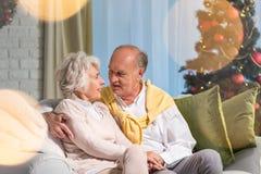 Senior couple spending Christmas together Royalty Free Stock Photo