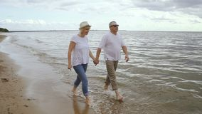Senior couple spending weekend togther on seaside. Happy retired people walking on seaside enjoying stock video