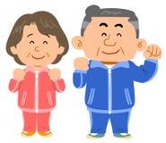 Senior couple in sportswear. The image of Senior couple in sportswear, with their smiles royalty free illustration