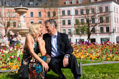 Senior couple during spring in the city Stock Images