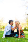 Senior couple during spring on a meadow in the city Stock Photography