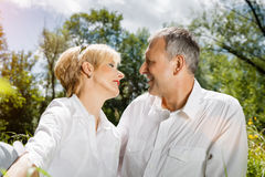 Senior couple in spring outdoors Stock Photos