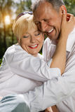 Senior couple in spring outdoors Royalty Free Stock Images