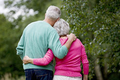 A senior couple standing with arms around each other, rear view Stock Photography