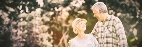 Senior couple standing in backyard. Happy senior couple standing in backyard stock photography