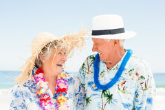 Senior couple standing at the beach. On a sunny day Stock Image