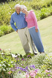 Senior couple standing in garden Stock Photo