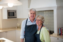 Senior couple standing in kitchen Royalty Free Stock Images