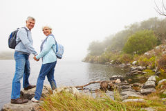 Senior couple standing by a lake, smiling to a camera Stock Image
