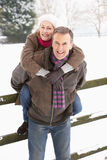 Senior Couple Standing Outside In Snowy Landscape Royalty Free Stock Photo