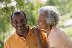 Senior couple standing in park, woman gazing affectionately at husband, smiling, close-up (tilt). Senior couple standing in park, women gazing affectionately at Stock Image