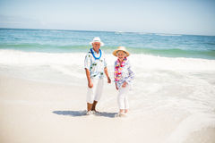Senior couple standing in the water of the sea. On a sunny day Royalty Free Stock Images