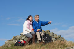 Senior Couple Stopping For Lunch On Countryside Walk stock images