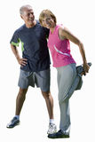 Senior couple stretching, exercising, cut out stock image