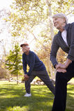 Senior Couple Stretching Whilst Exercising Together In Park Royalty Free Stock Image