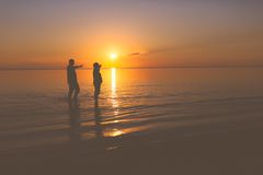 Senior couple strolling at sunset Royalty Free Stock Photography