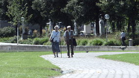 Senior Couple Strolls in Park. A senior couple take a walk through the New Palace park in Stuttgart stock video