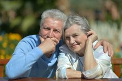 Senior couple in summer outside Stock Photo